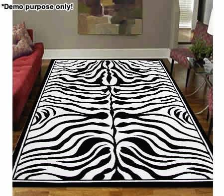 Modern Rug with Retro Zebra Print Design - 230cm x 160cm