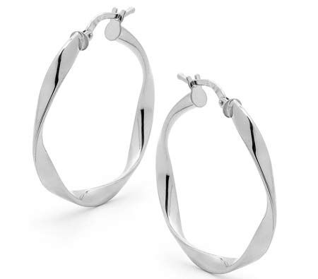9e5971f98 Hoop Earrings, 9ct White Gold, 3mm Thick Twisted Design, 25mm Height-  CrazySales.com.au | Crazy Sales