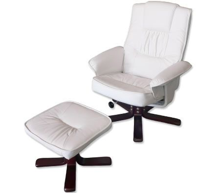 recliner chair foot stool cream white leather swivel office chair