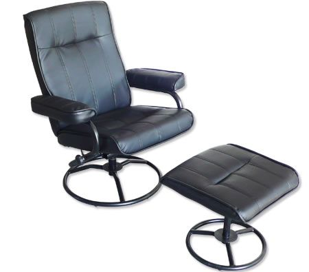Recliner Chair & Foot Stool - Leather Office Chair - Recline & Swivel