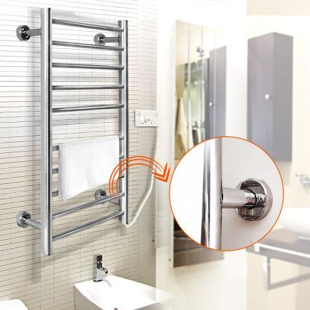 100W Heated Towel Rail - Wall Mounted 10 Bar Electrical Rack