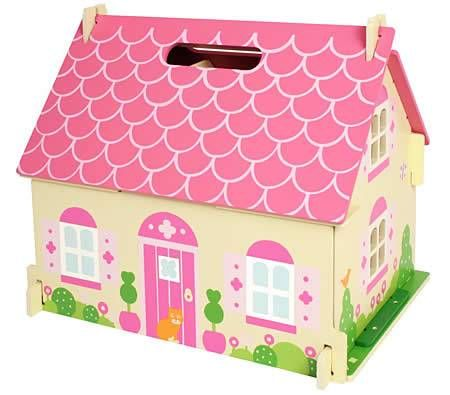 Doll House   Bigjigs Wooden Blossom Cottage   4 Rooms, Furniture U0026 Family