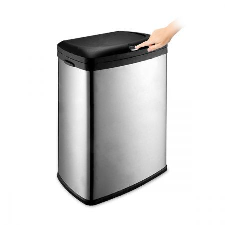 Button Activated Trash Bin Matt Stainless Steel 50l With