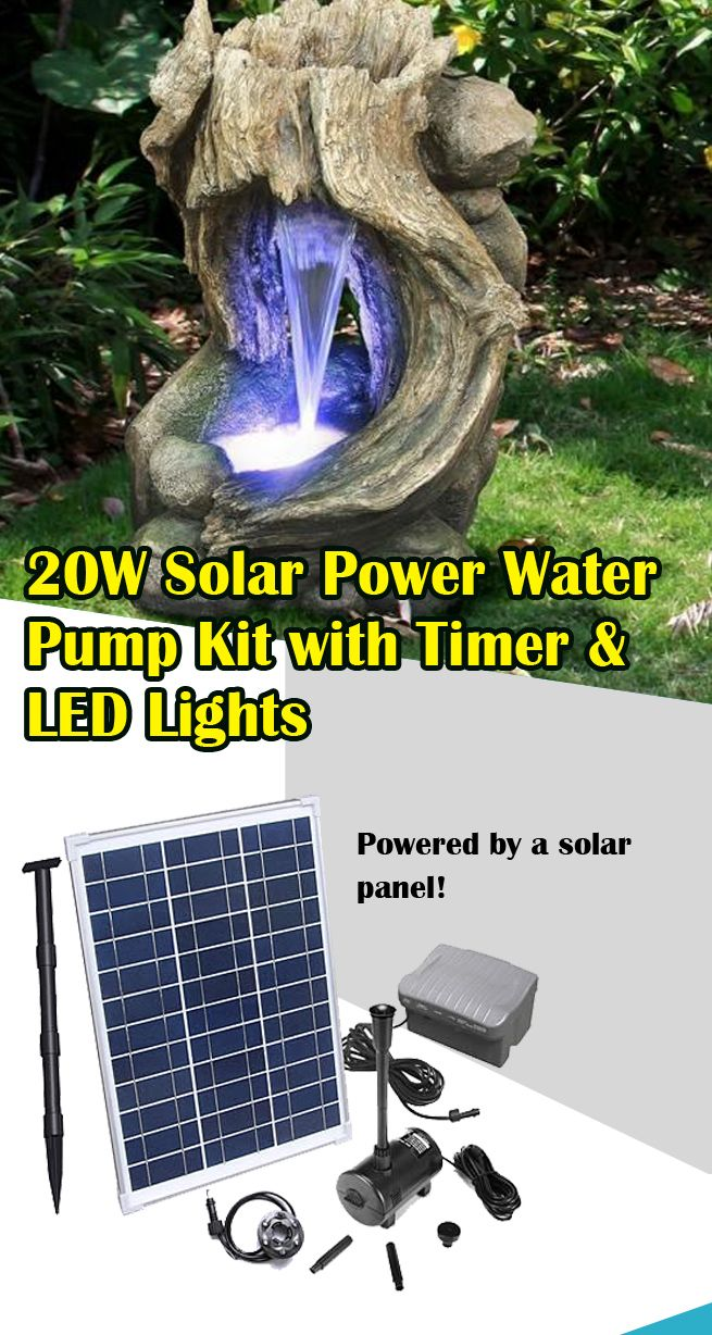 Shogun 20w Solar Power Water Feature Pump Kit With Timer Led
