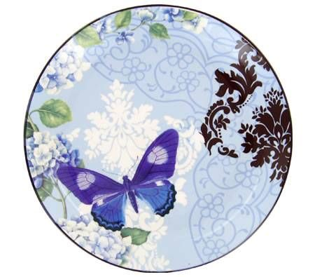Living Art Round Platter Plate - Designed in Australia - 27cm Papillon Blue