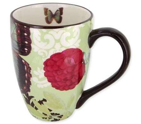 Living Art Coffee Mug Cup - Designed in Australia - Papillon Green