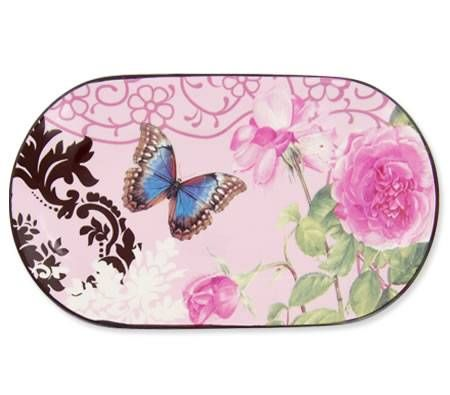 Living Art Rectangular Platter Plate 27cm - Designed in Australia - Papillon Pink