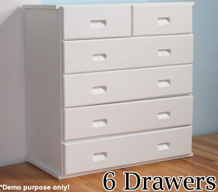 Wooden Tall Boy Storage Cabinet with Recessed Handles - 6 Drawers - White | Crazy Sales