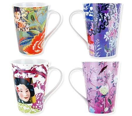 Living Art Coffee Mug Cup - Designed in Australia - Oriental Floral Purple - Set of 4