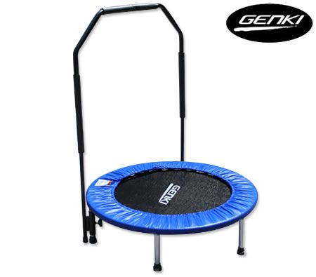 "36"" Trampoline Rebounder w/ Support Handle & Safety Padding Cover - Blue"