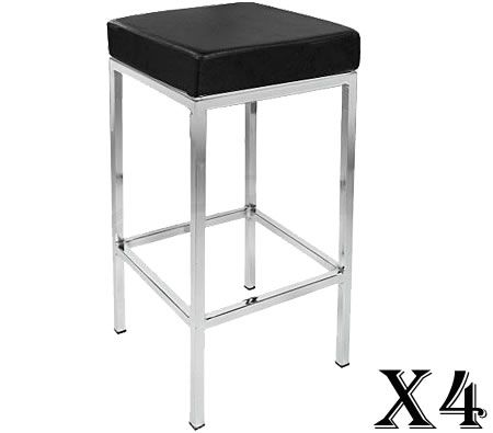4 x Stylish Square Bar Stool with Chrome Frame Legs - Black
