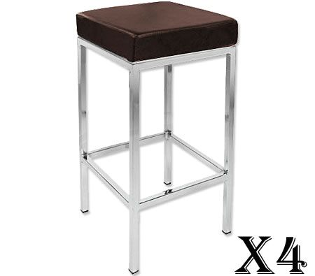 4 x Stylish Square Bar Stool with Chrome Frame Legs - Brown