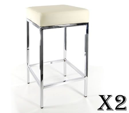 2 x Stylish Square Bar Stool with Chrome Frame Legs - Cream