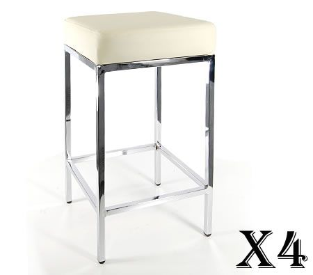 4 x Stylish Square Bar Stool with Chrome Frame Legs - Cream