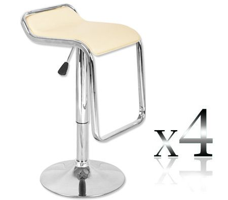 4 x Stylish Venice Style Bar Stool - Cream