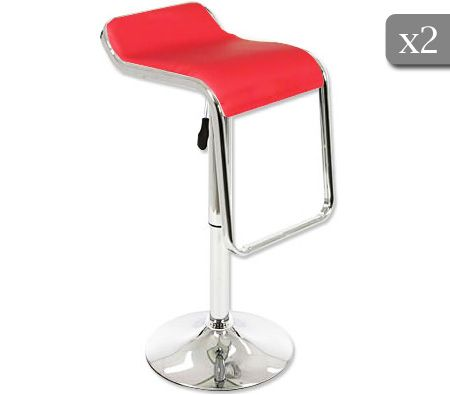 2 x Stylish Venice Style Bar Stool - Red