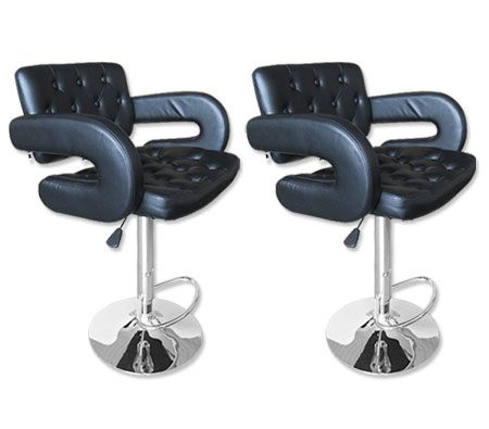 Set of Square Stylish Bar Stools with Backrest - Black