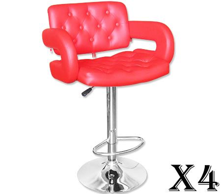 4 x Stylish Square Bar Stool with Backrest - Red