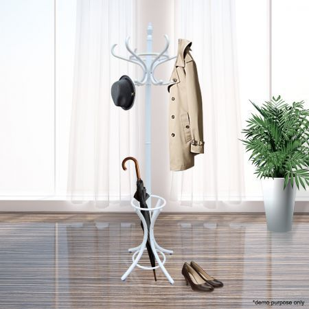 Wooden Coat / Hat Stand with 12 Hooks - Tree Style with Base Ring Umbrella Stand - 187cm White