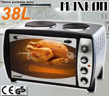Maxkon Electric Convection Oven with Twin Hot Plates & Rotisserie