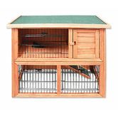Dual Level Rabbit/Guinea Pig Pet Hutch Outdoor House - Fir Wood