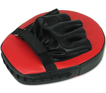 2 x Thai Boxing Punch Focus Pad Mitts - Red and Black
