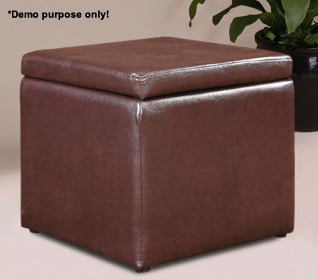 Brown Square Storage Ottoman with Faux Leather Exterior