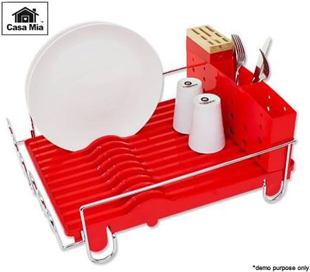 Casa Mia Dish Drying Rack - Plastic/Rubber/Chrome Steel - Red