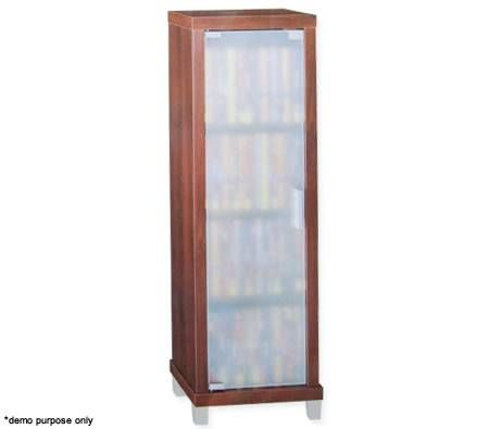 Wooden DVD Storage Tower with Glass Door - 72 DVD Capacity, Dark Walnut