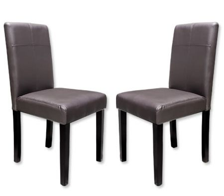 Set of 2 Dining Chairs in PVC Leather With Stitch Back Rest - Coffee