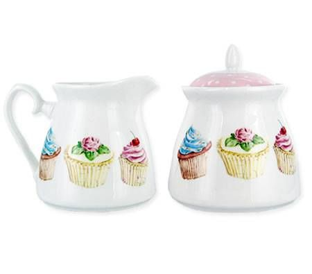 Milk Jar and Sugar Pot Set With Gift Box - Cupcake Design