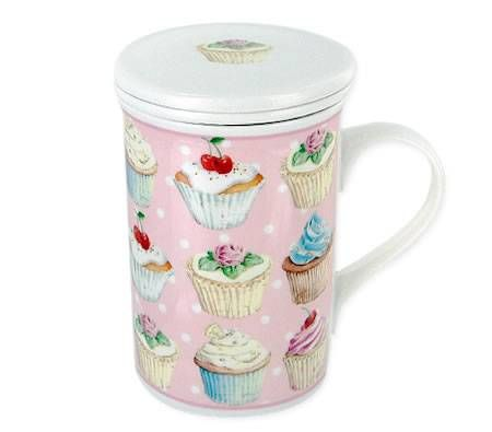 Mug and Tea Diffuser Set With Gift Box - Cupcake Design