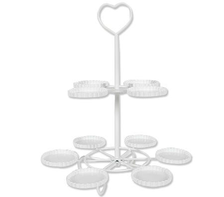 Cupcake Stand with Handle - 10 Trays - White