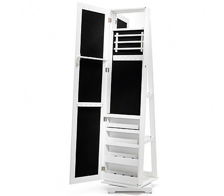 Rotating Full Length Jewellery Mirror Cabinet White