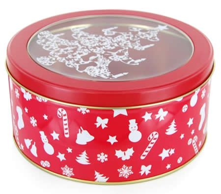 Christmas Round Cookie Tin with Clear Lid