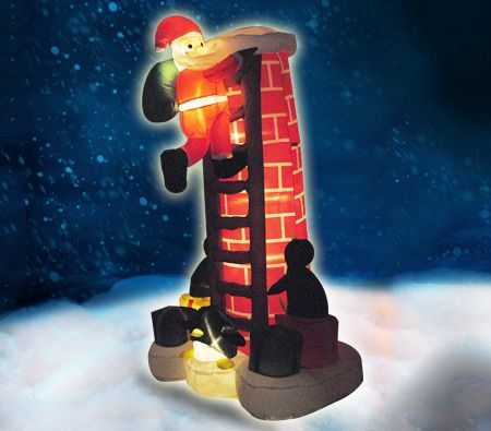210cm Air Powered Inflatable Santa Climbing Chimney Decoration with Light