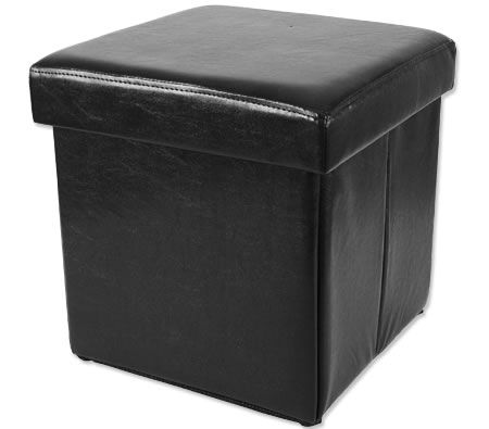 Folding Cube Ottoman with Storage - Faux Black Leather