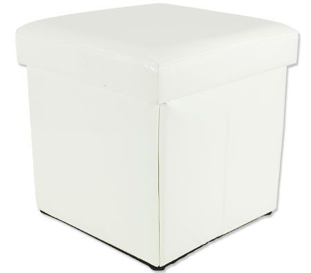 Folding Cube Ottoman with Storage - Faux Cream White Leather