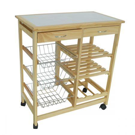 Wooden Kitchen Trolley - 2 Drawer, 3 Baskets, 2 Shelves ...