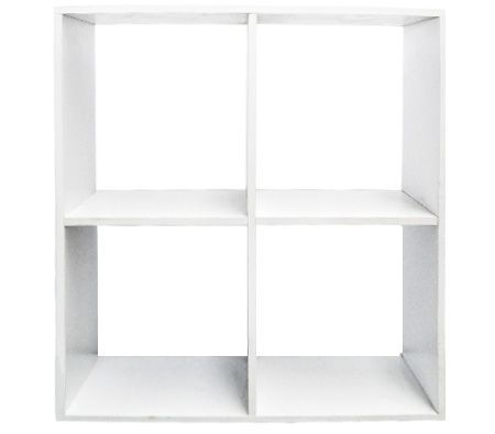 White Display Shelf with 4 Large Compartments