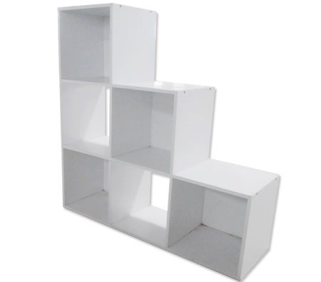 White Display Shelf with 6 Cube Compartments