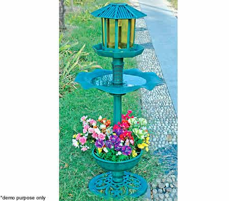 Garden Bird Feeder & Bird Bath with Solar Light / Flower Planter - 114 cm