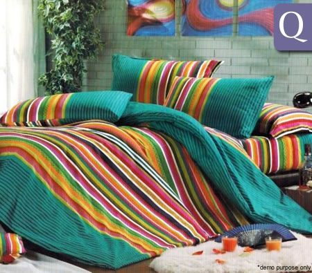 Cotton Queen Bed Quilt Cover Set with 420 Thread Count - Rainbow