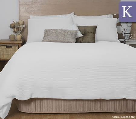 Ardor Waffle Quilt Cover Set - King Size/White