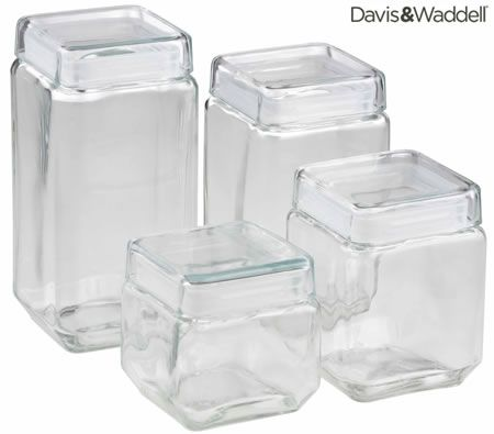 square kitchen canisters davis waddel square glass kitchen canisters set of 4 crazy sales 2570
