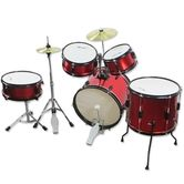 Kids 5 Piece Drum Kit Set with Cymbals - Red