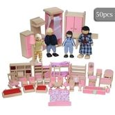 50 Piece Wooden Doll House Furniture and Dolls