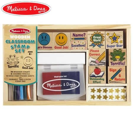 Melissa Doug Wooden Teachers Stamp Set