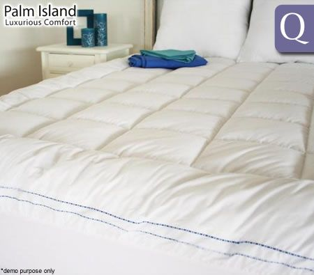 palm island luxury memory resistant pillowtop mattress topper queen bed
