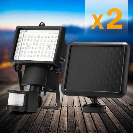 Set of 2 Solar Motion Sensor Light - Adjustable Motion Distance and Time